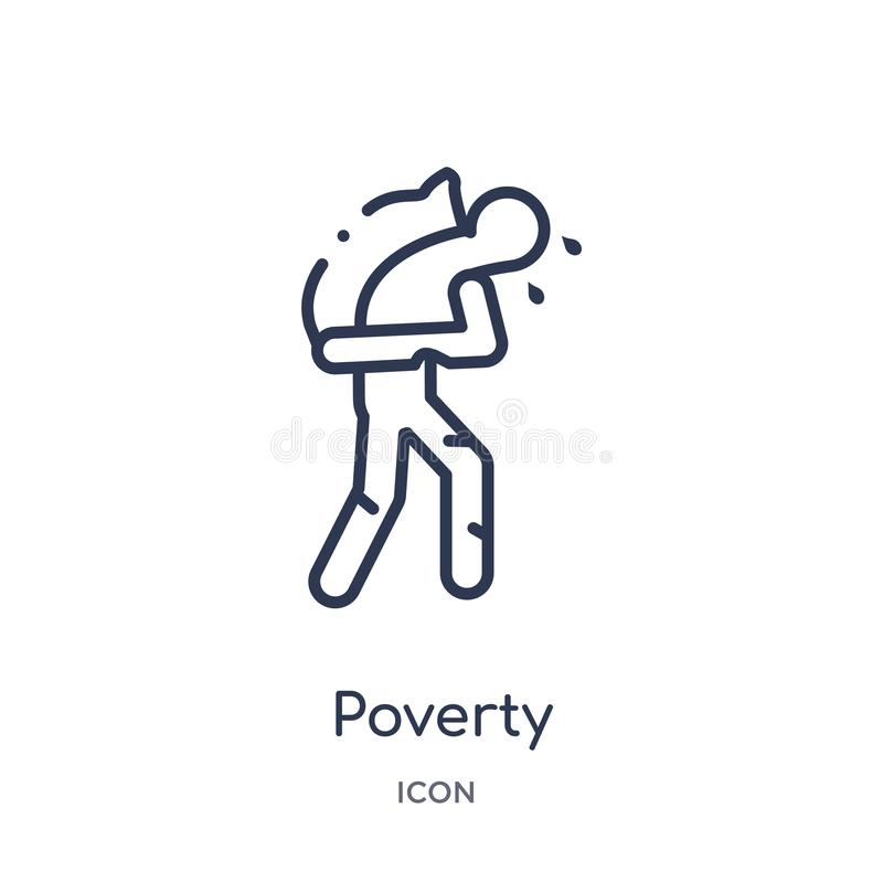 Linear poverty icon from General outline collection. Thin line poverty icon isolated on white background. poverty trendy vector illustration