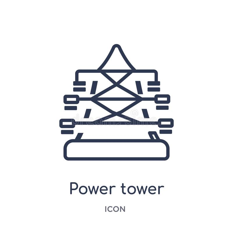 Linear power tower icon from Industry outline collection. Thin line power tower icon isolated on white background. power tower vector illustration