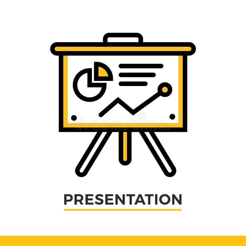Linear presentation icon. Pictogram in outline style. Vector modern flat design element for mobile application and web design. royalty free stock photo