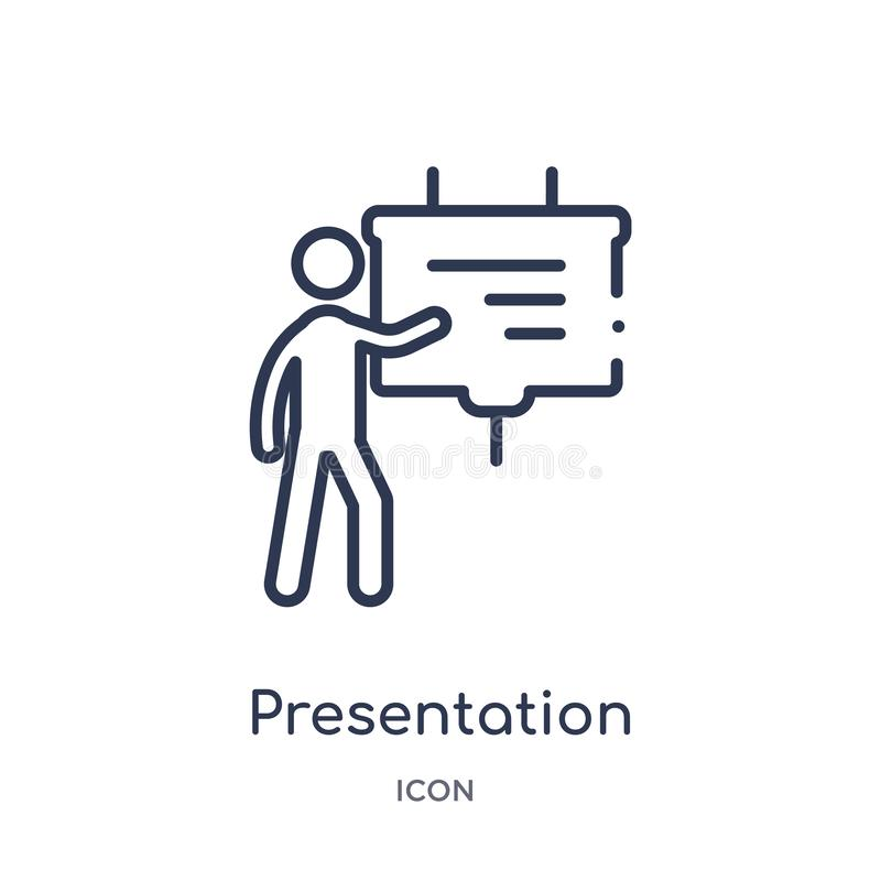 Linear presentation whiteboard icon from Behavior outline collection. Thin line presentation whiteboard vector isolated on white royalty free illustration
