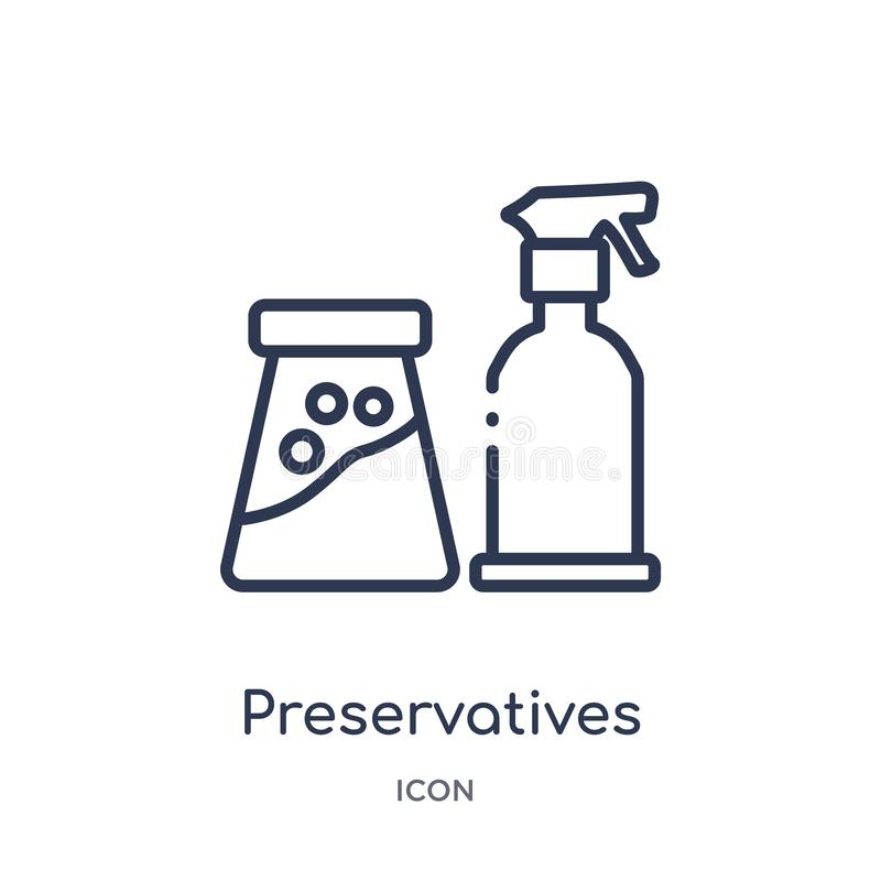 Linear preservatives icon from Cleaning outline collection. Thin line preservatives vector isolated on white background. stock illustration