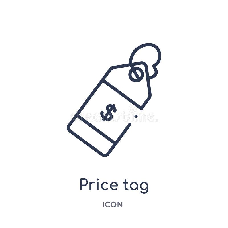 Linear price tag icon from Crowdfunding outline collection. Thin line price tag vector isolated on white background. price tag vector illustration