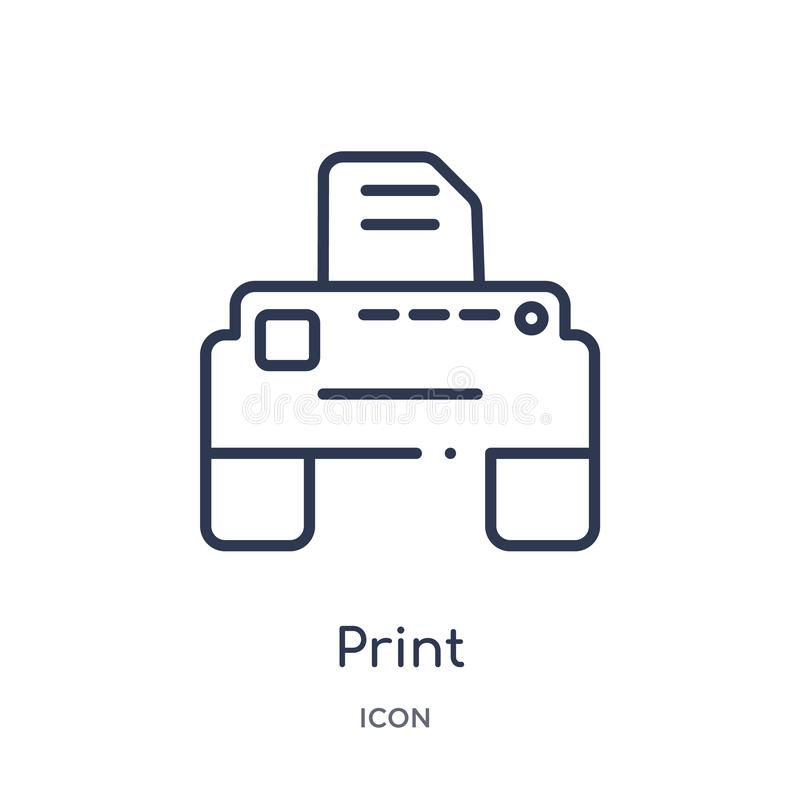 Linear print icon from Electrian connections outline collection. Thin line print vector isolated on white background. print trendy stock illustration