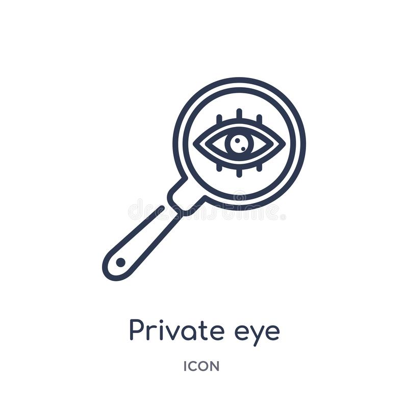 Linear private eye magnifying glass icon from General outline collection. Thin line private eye magnifying glass icon isolated on vector illustration