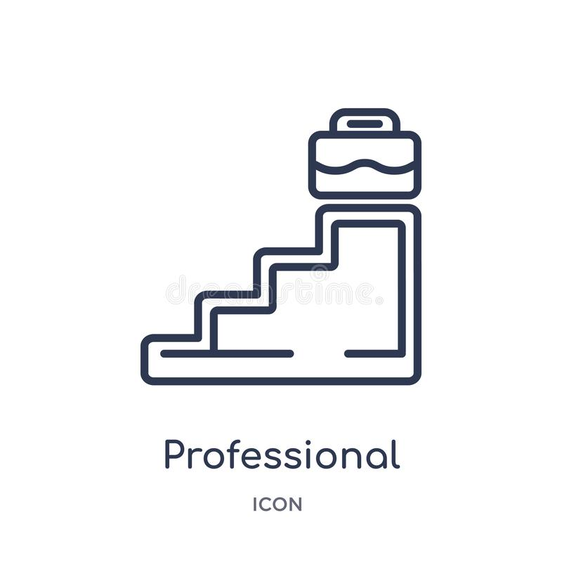 Linear professional advance icon from Business outline collection. Thin line professional advance icon isolated on white royalty free illustration