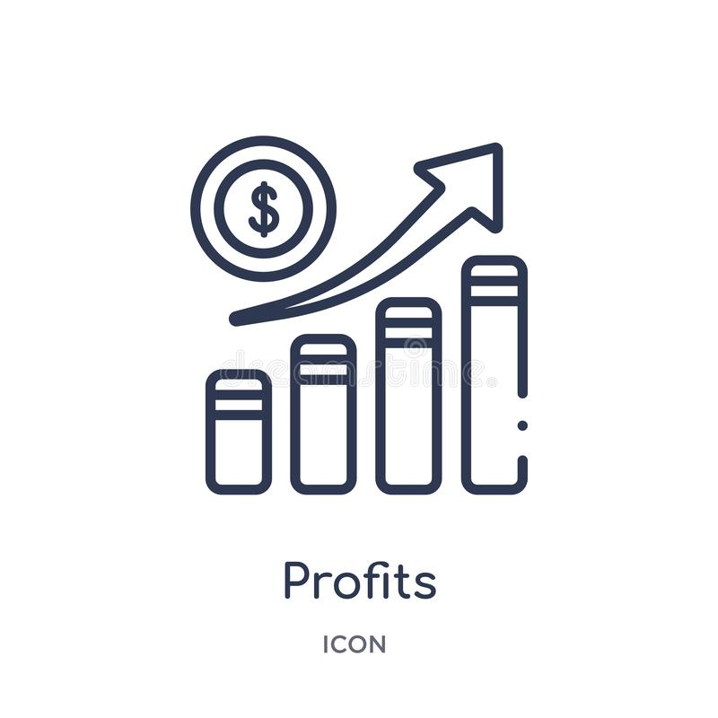 Linear profits icon from Digital economy outline collection. Thin line profits vector isolated on white background. profits trendy vector illustration
