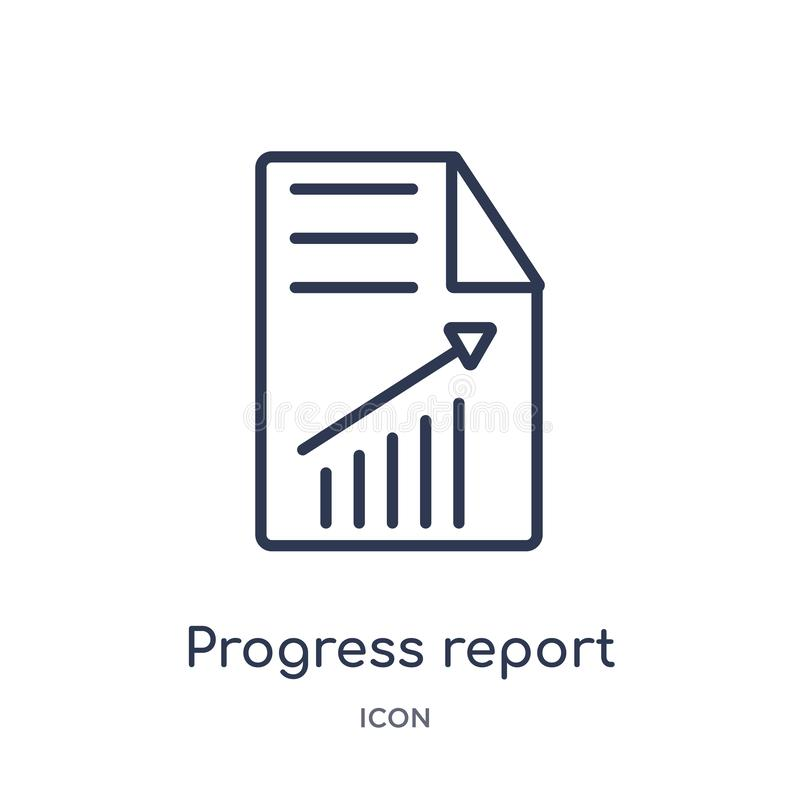 Linear progress report icon from Business outline collection. Thin line progress report icon isolated on white background. Progress report trendy illustration stock illustration