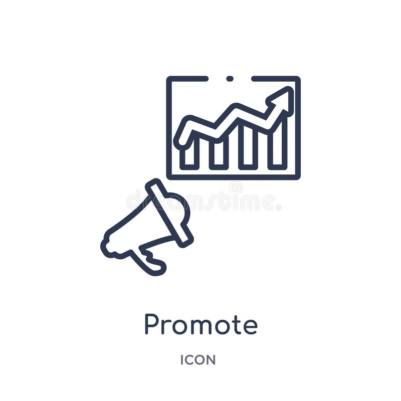 Linear promote icon from Marketing outline collection. Thin line promote icon isolated on white background. promote trendy royalty free illustration