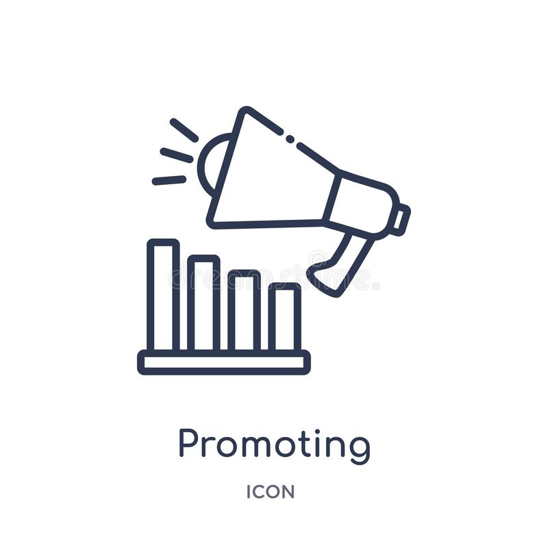 Linear promoting icon from Marketing outline collection. Thin line promoting icon isolated on white background. promoting trendy stock illustration