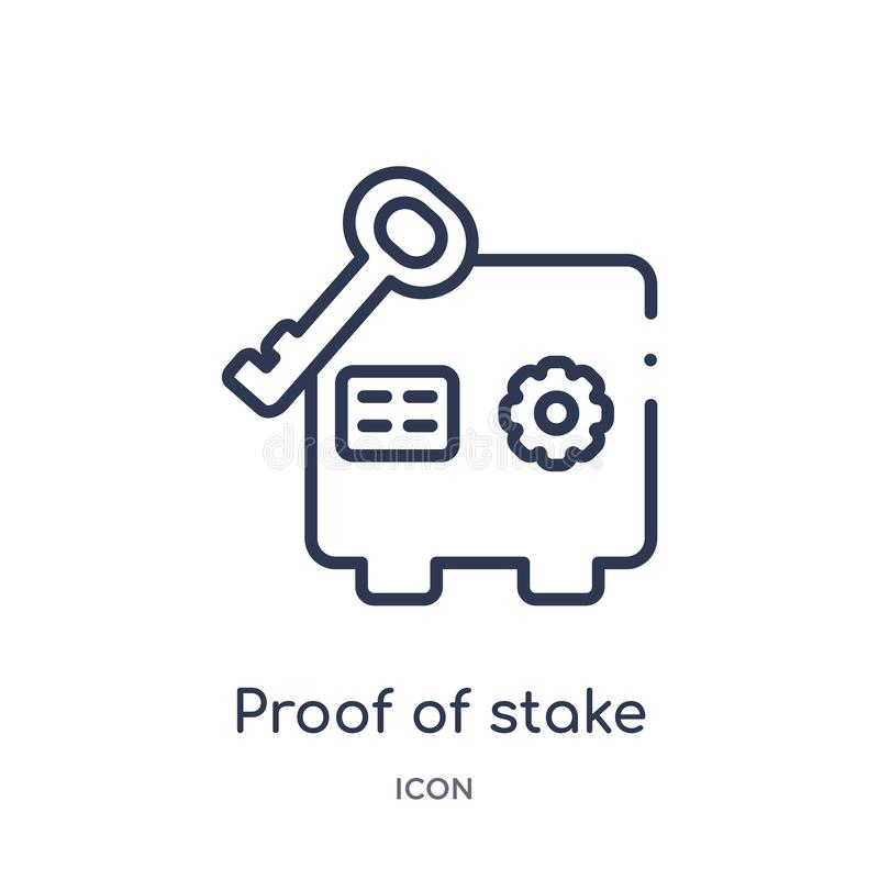 Linear proof of stake icon from Cryptocurrency economy and finance outline collection. Thin line proof of stake vector isolated on royalty free illustration