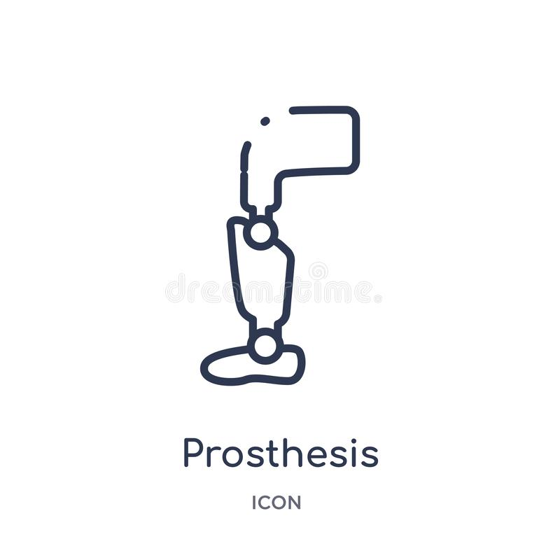 Linear prosthesis icon from Artificial intellegence and future technology outline collection. Thin line prosthesis vector isolated. On white background vector illustration