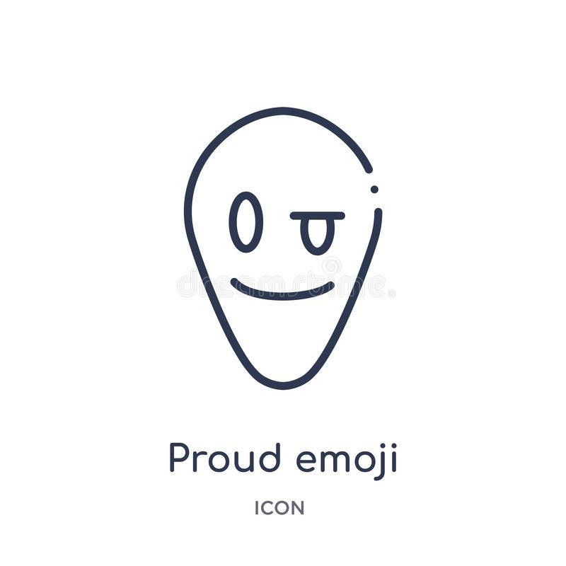 Linear proud emoji icon from Emoji outline collection. Thin line proud emoji vector isolated on white background. proud emoji. Trendy illustration vector illustration