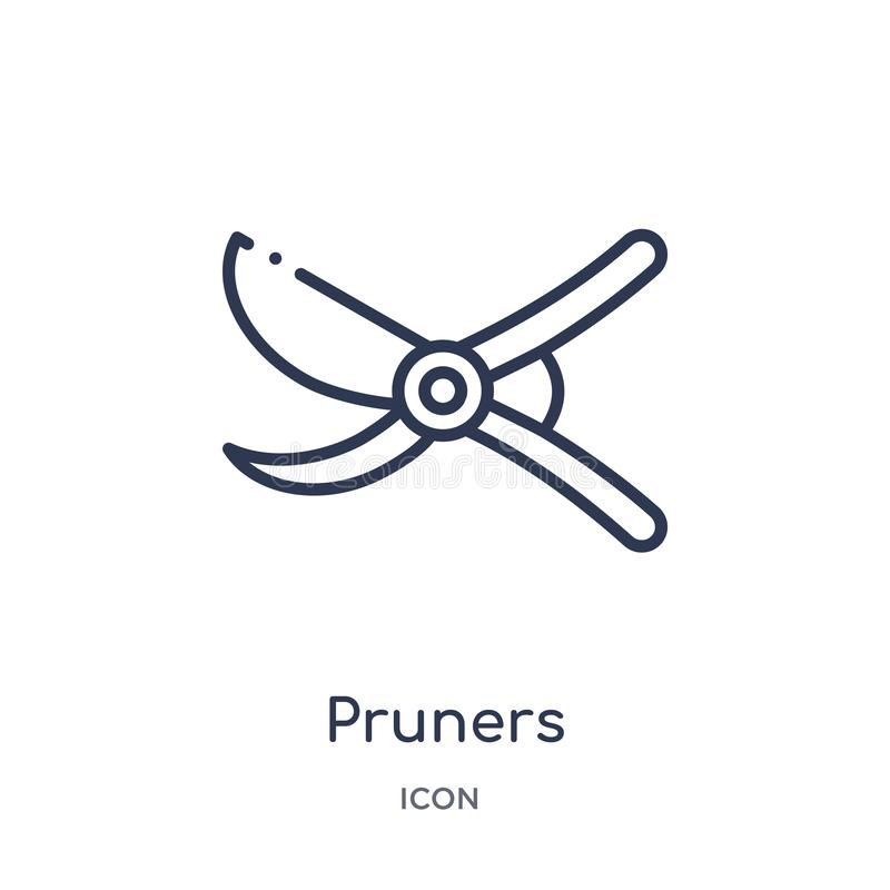 Linear pruners icon from Agriculture farming and gardening outline collection. Thin line pruners vector isolated on white royalty free illustration