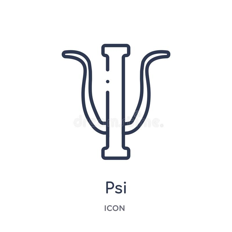 Linear psi icon from Greece outline collection. Thin line psi icon isolated on white background. psi trendy illustration royalty free illustration