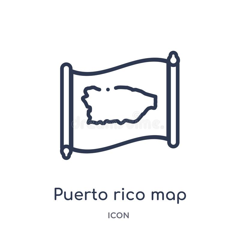 Linear puerto rico map icon from Countrymaps outline collection. Thin line puerto rico map vector isolated on white background. stock illustration