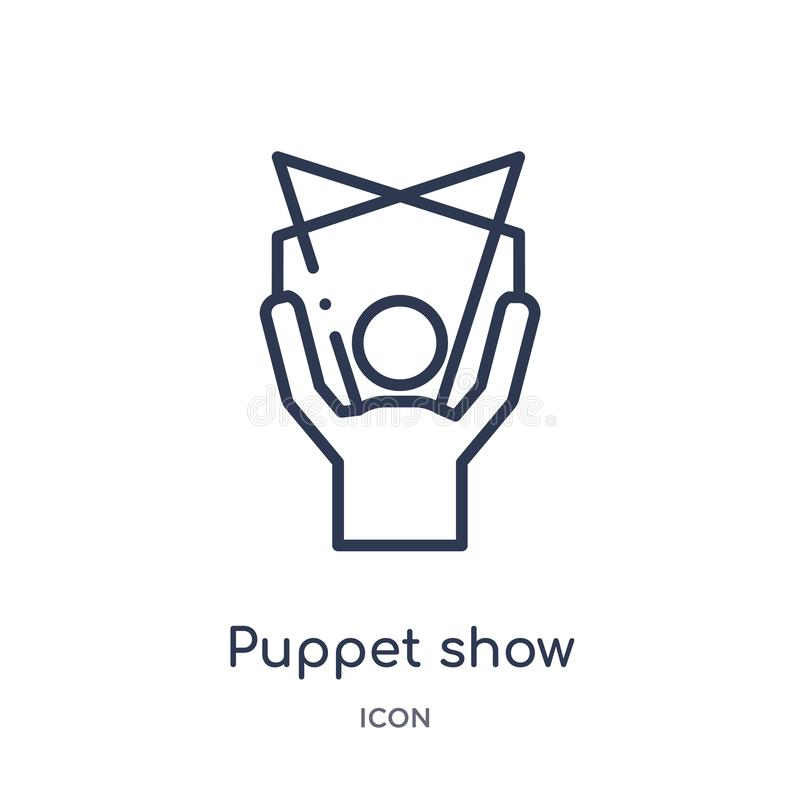 Linear puppet show icon from Entertainment and arcade outline collection. Thin line puppet show vector isolated on white royalty free illustration