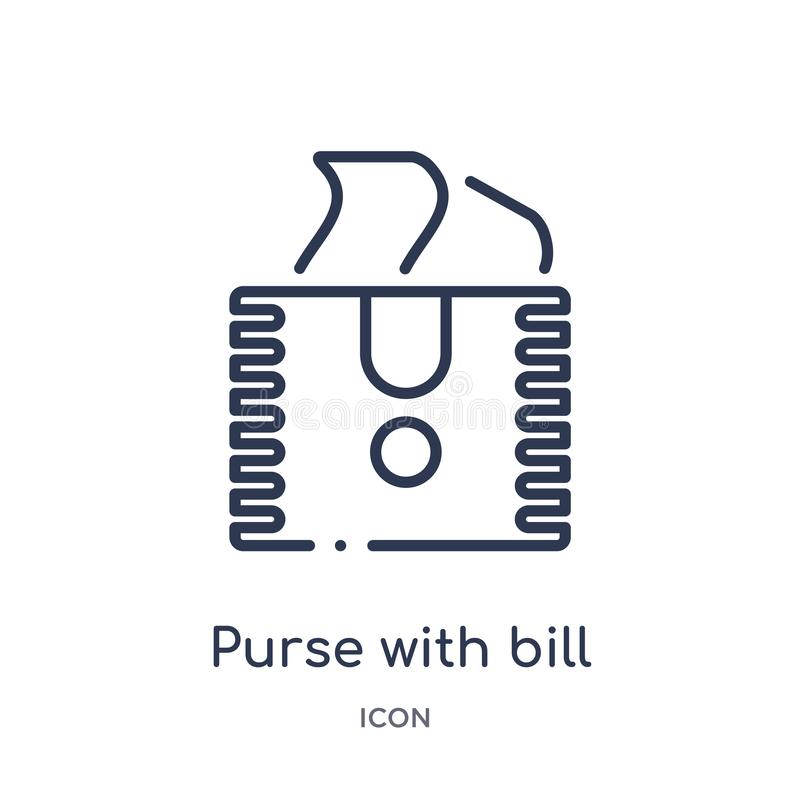 Linear purse with bill icon from Airport terminal outline collection. Thin line purse with bill vector isolated on white stock illustration