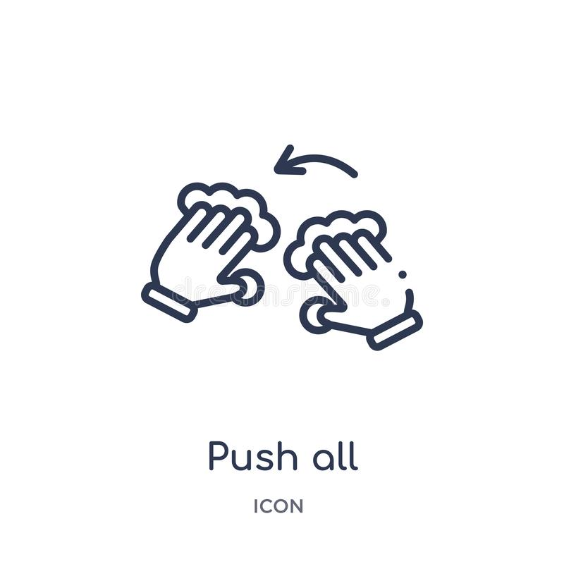 Linear push all fingers to twist left icon from Hands and guestures outline collection. Thin line push all fingers to twist left vector illustration