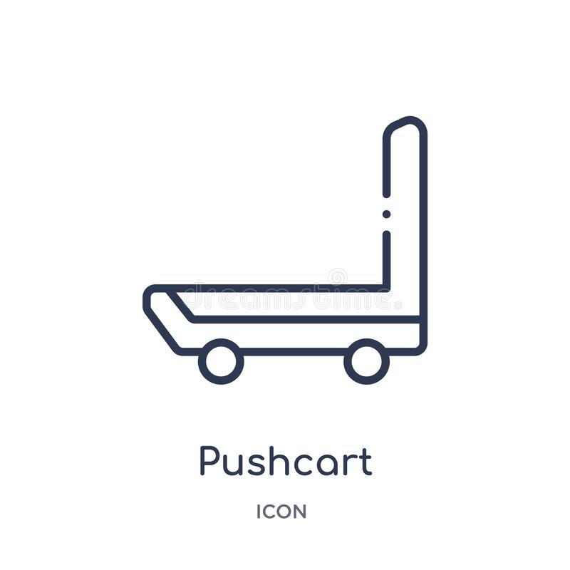 Linear pushcart icon from Industry outline collection. Thin line pushcart icon isolated on white background. pushcart trendy royalty free illustration