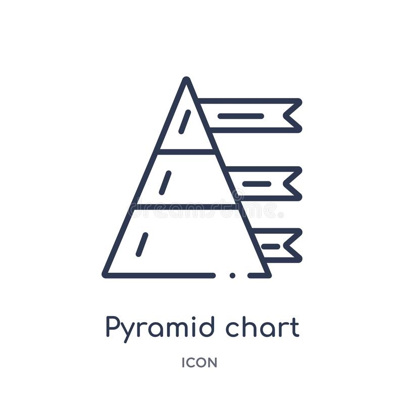 Linear pyramid chart icon from Analytics outline collection. Thin line pyramid chart vector isolated on white background. pyramid royalty free illustration