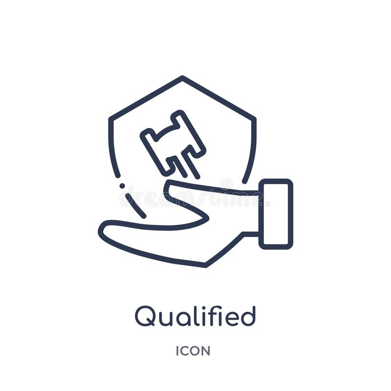 Linear qualified protection icon from Law and justice outline collection. Thin line qualified protection icon isolated on white vector illustration