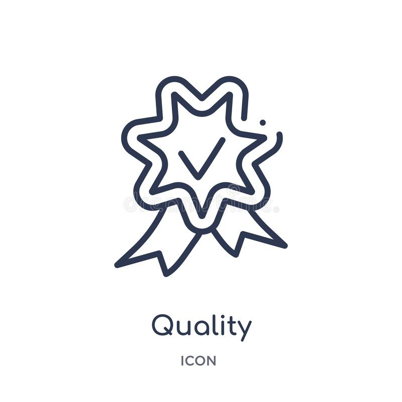 Linear quality icon from Customer service outline collection. Thin line quality vector isolated on white background. quality stock illustration