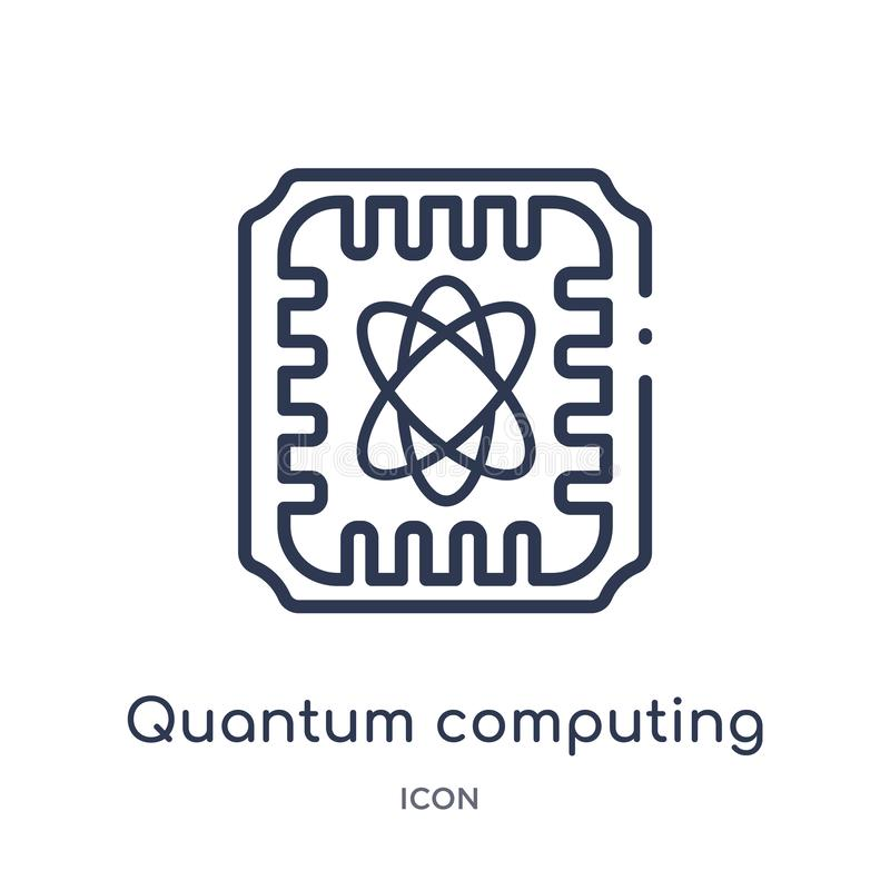 Linear quantum computing icon from Artificial intellegence and future technology outline collection. Thin line quantum computing royalty free illustration