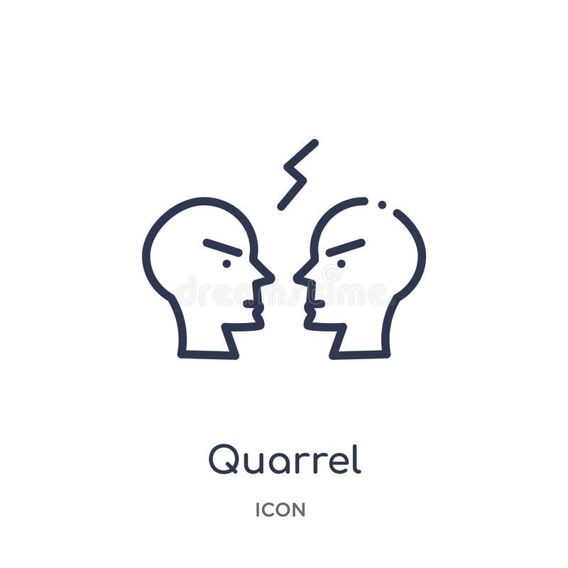 Linear quarrel icon from Comunation outline collection. Thin line quarrel vector isolated on white background. quarrel trendy royalty free illustration