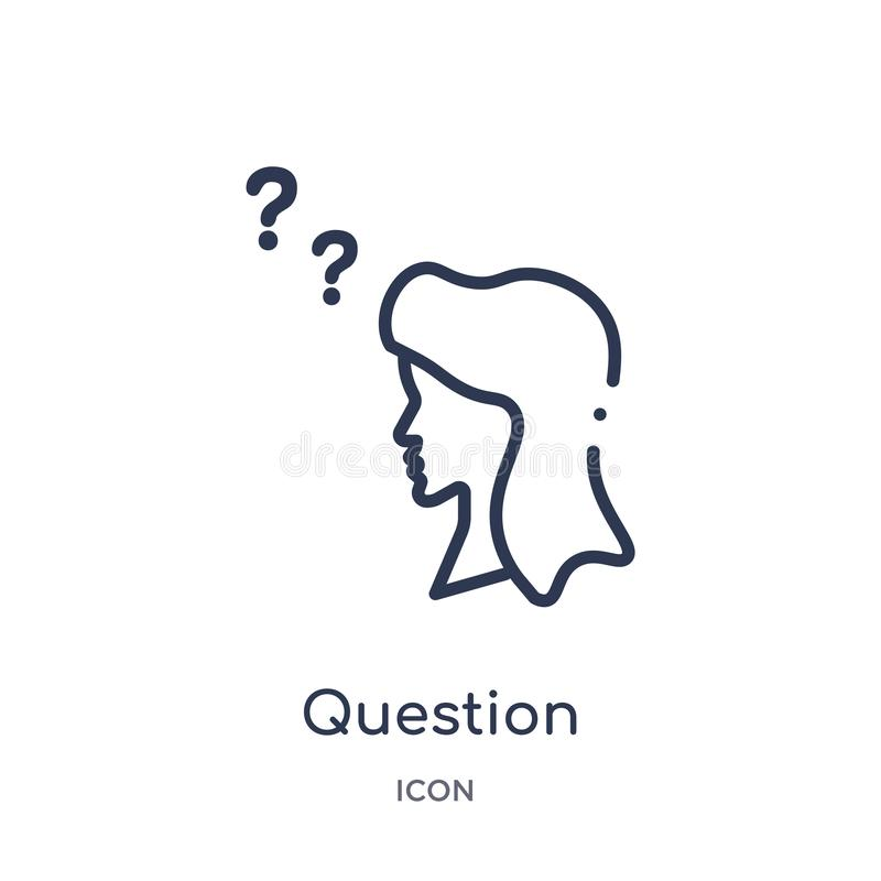 Linear question icon from Customer service outline collection. Thin line question vector isolated on white background. question stock illustration