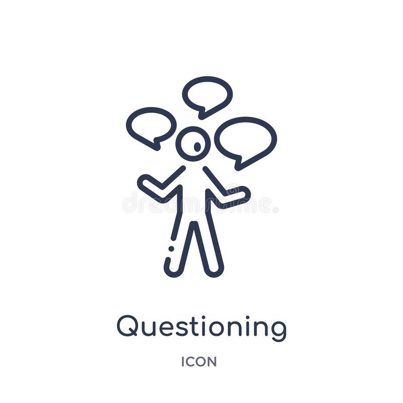 Linear questioning icon from Activity and hobbies outline collection. Thin line questioning vector isolated on white background. vector illustration