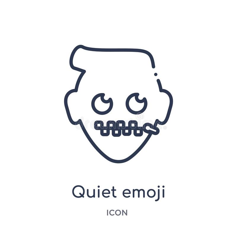 Linear quiet emoji icon from Emoji outline collection. Thin line quiet emoji vector isolated on white background. quiet emoji vector illustration