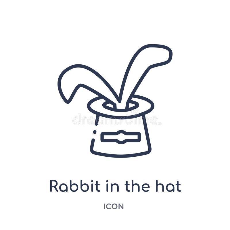 Linear rabbit in the hat icon from Circus outline collection. Thin line rabbit in the hat vector isolated on white background. vector illustration