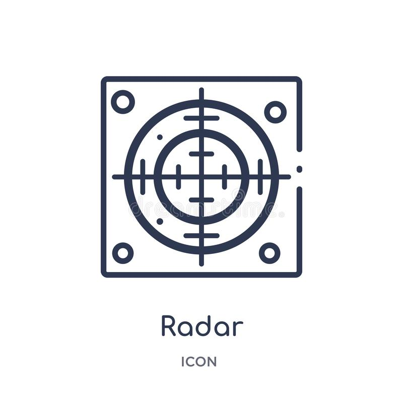 Linear radar icon from Army outline collection. Thin line radar vector isolated on white background. radar trendy illustration vector illustration
