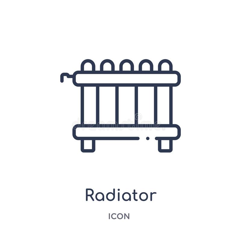 Linear radiator icon from Furniture and household outline collection. Thin line radiator icon isolated on white background. vector illustration