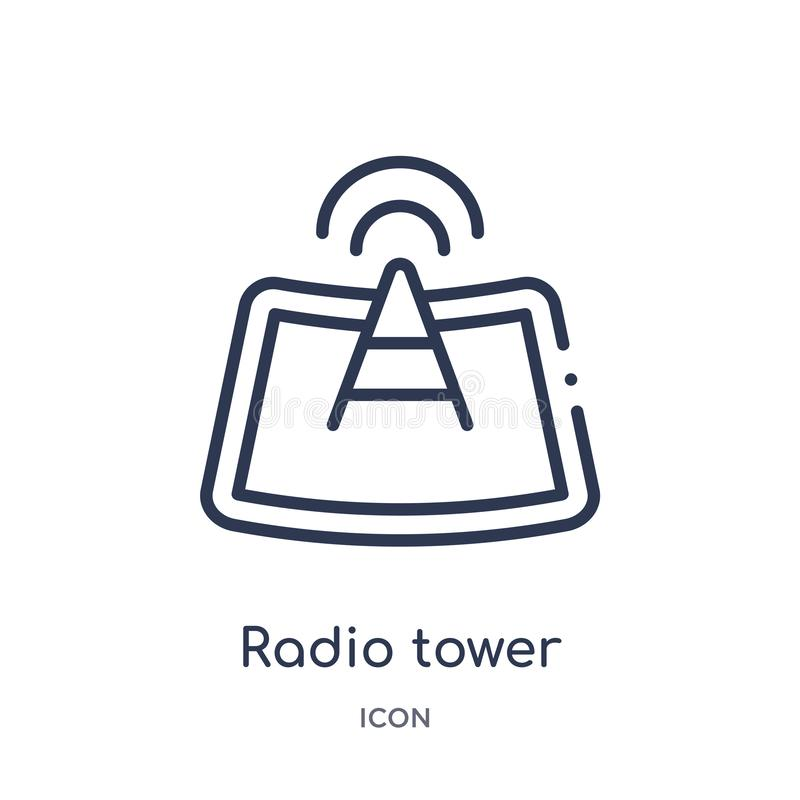 Linear radio tower icon from Maps and locations outline collection. Thin line radio tower icon isolated on white background. radio vector illustration
