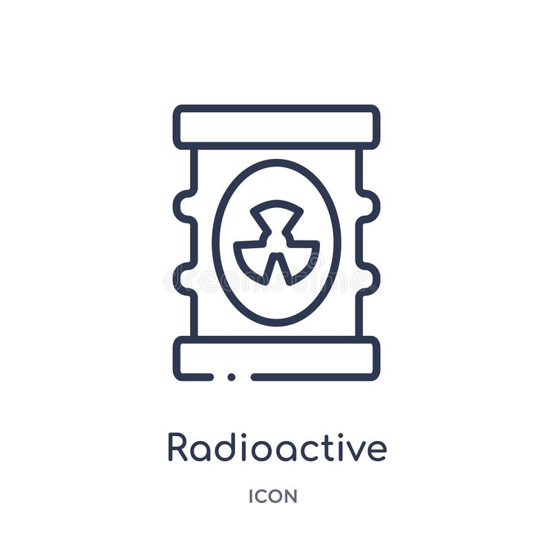 Linear radioactive icon from Ecology outline collection. Thin line radioactive vector isolated on white background. radioactive stock illustration