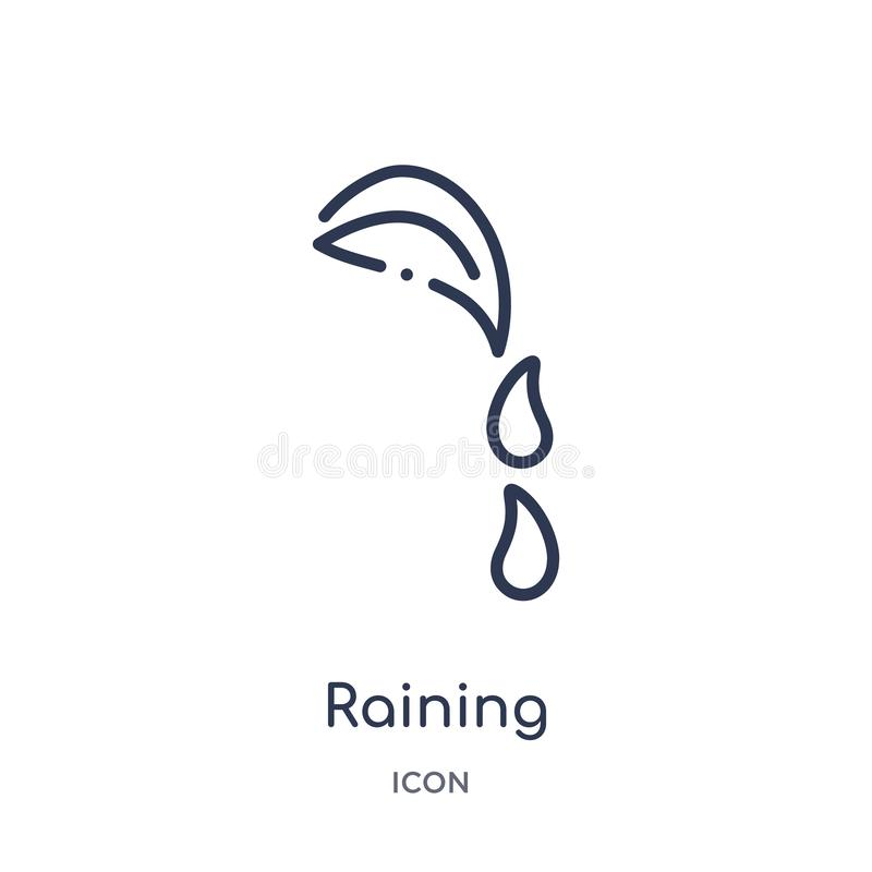 Linear raining icon from Ecology outline collection. Thin line raining vector isolated on white background. raining trendy vector illustration