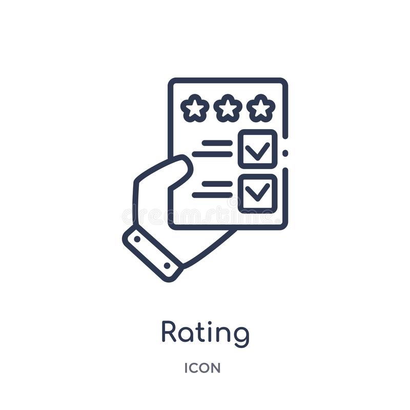 Linear rating icon from Blogger and influencer outline collection. Thin line rating vector isolated on white background. rating royalty free illustration
