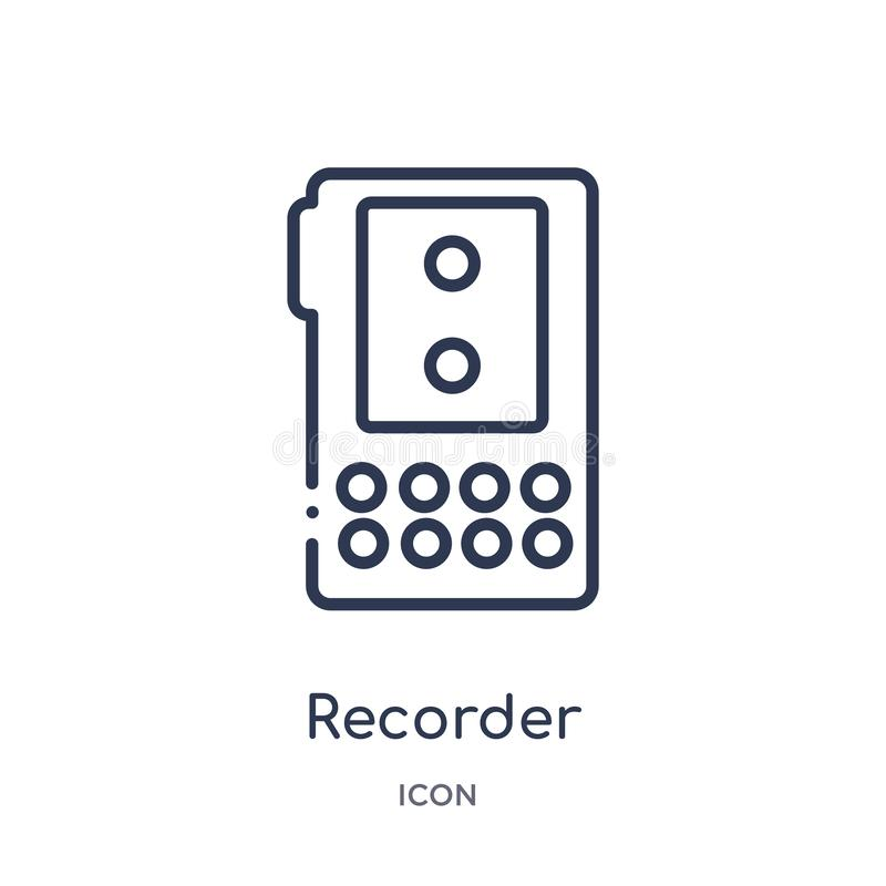 Linear recorder icon from Law and justice outline collection. Thin line recorder icon isolated on white background. recorder royalty free illustration