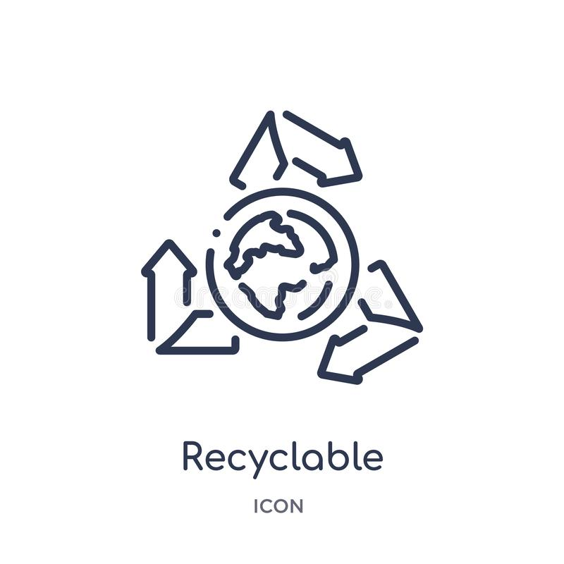 Linear recyclable icon from Ecology outline collection. Thin line recyclable vector isolated on white background. recyclable. Trendy illustration royalty free illustration