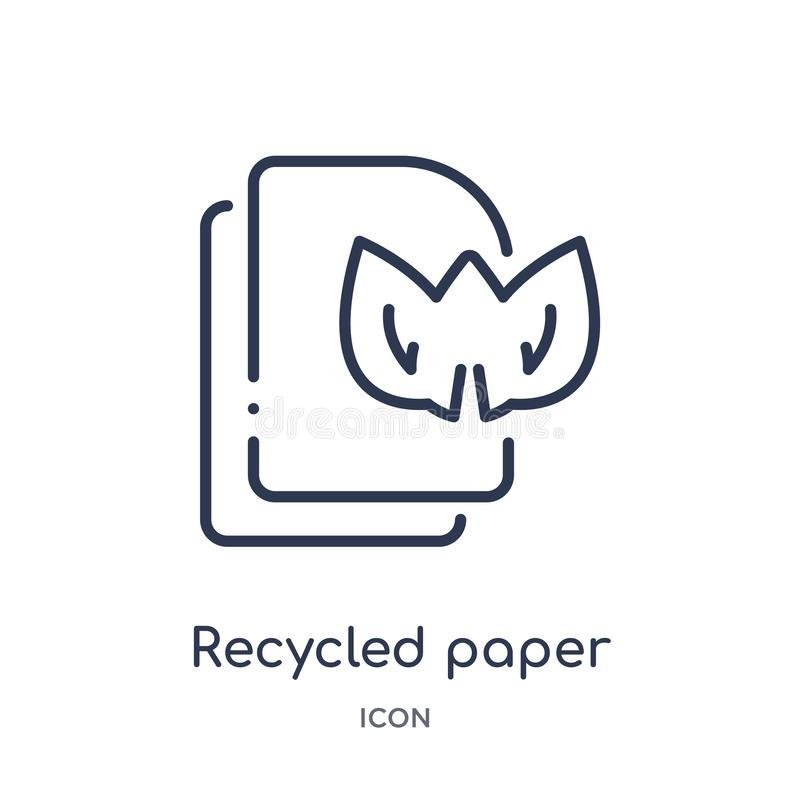 Linear recycled paper icon from Ecology outline collection. Thin line recycled paper vector isolated on white background. recycled. Paper trendy illustration vector illustration