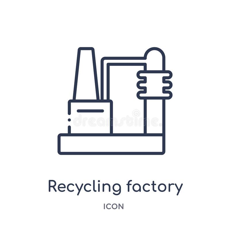 Linear recycling factory icon from Ecology outline collection. Thin line recycling factory vector isolated on white background. royalty free illustration