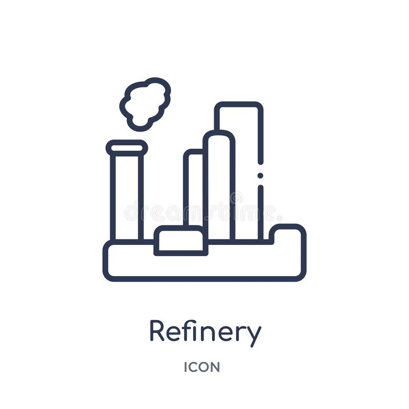Linear refinery icon from Industry outline collection. Thin line refinery icon isolated on white background. refinery trendy royalty free illustration