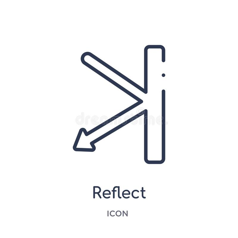 Linear reflect icon from Creative process outline collection. Thin line reflect vector isolated on white background. reflect stock illustration