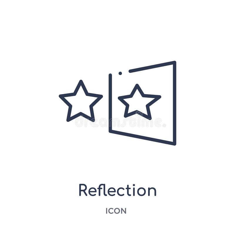 Linear reflection icon from Geometry outline collection. Thin line reflection icon isolated on white background. reflection trendy. Illustration stock illustration