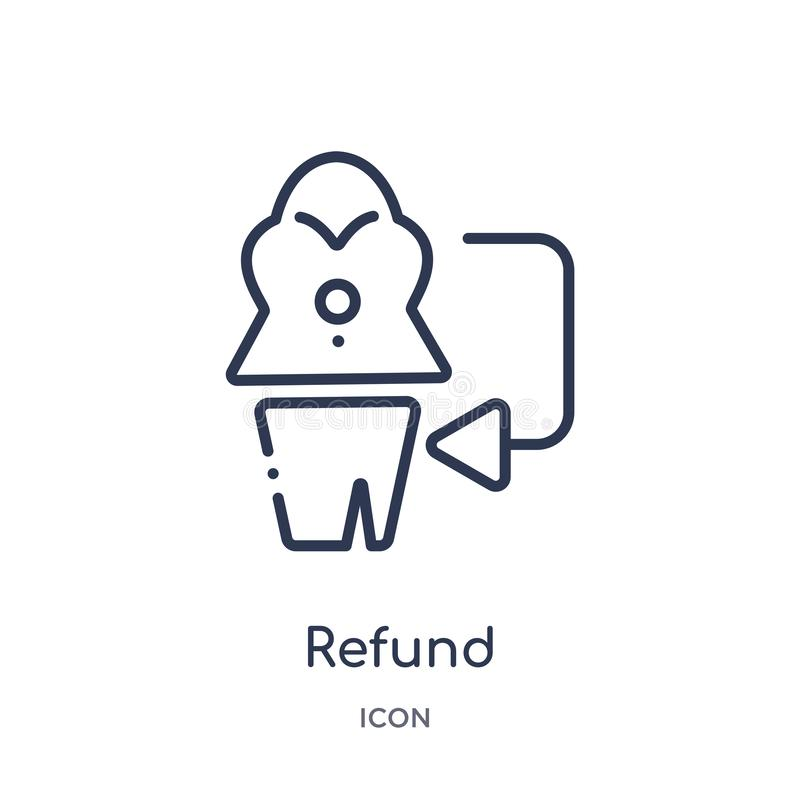 Linear refund icon from Fashion and commerce outline collection. Thin line refund vector isolated on white background. refund stock illustration