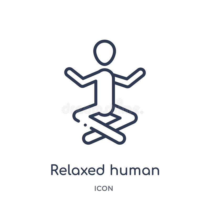 Linear relaxed human icon from Feelings outline collection. Thin line relaxed human vector isolated on white background. relaxed stock illustration