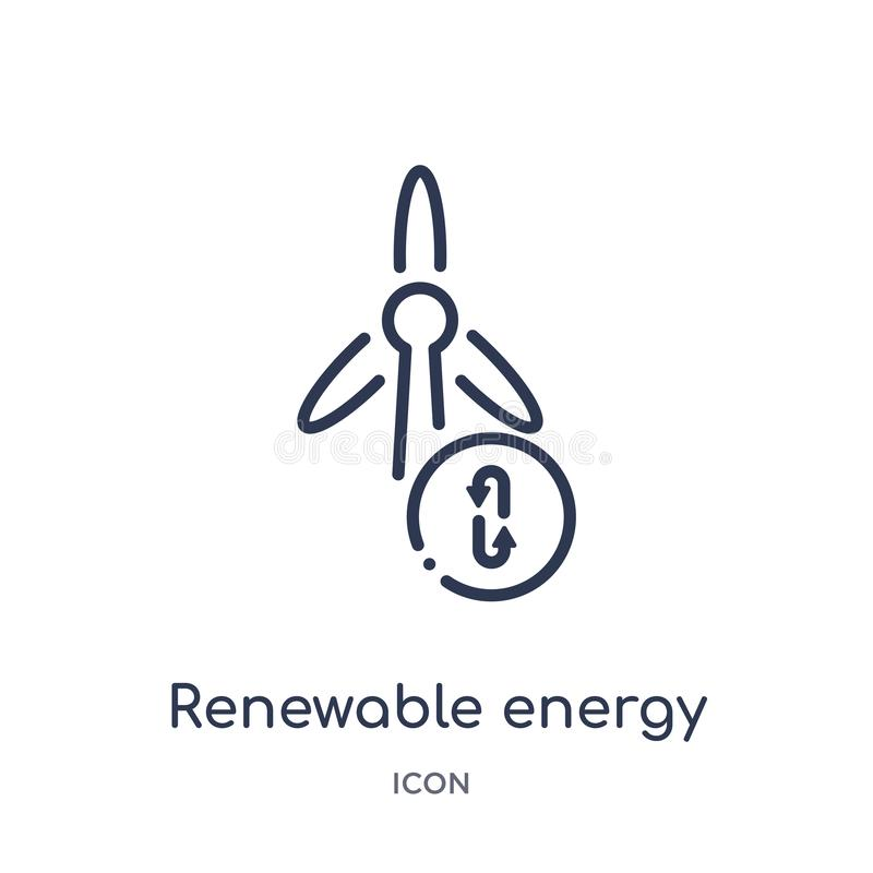 Linear renewable energy icon from Ecology outline collection. Thin line renewable energy vector isolated on white background. vector illustration