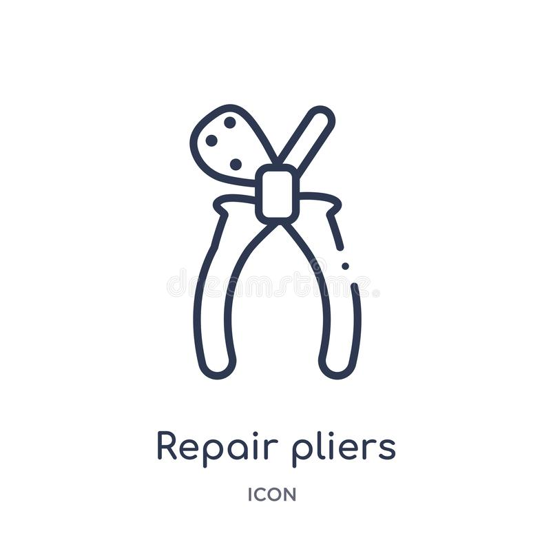 Linear repair pliers icon from Construction tools outline collection. Thin line repair pliers vector isolated on white background stock illustration