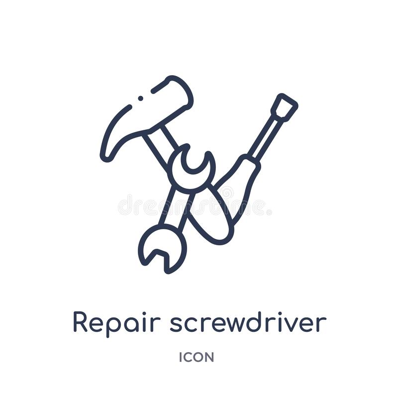Linear repair screwdriver icon from Construction tools outline collection. Thin line repair screwdriver vector isolated on white vector illustration